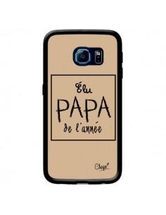 Coque Elu Papa de l'Année Beige pour Samsung Galaxy S6 Edge - Chapo