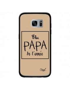 Coque Elu Papa de l'Année Beige pour Samsung Galaxy S7 - Chapo