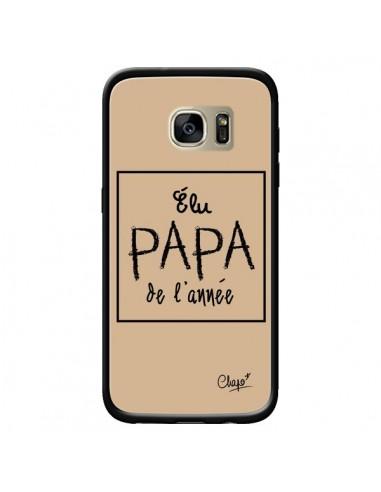 Coque Elu Papa de l'Année Beige pour Samsung Galaxy S7 Edge - Chapo