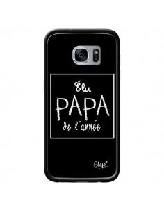 Coque Elu Papa de l'Année Noir pour Samsung Galaxy S7 - Chapo