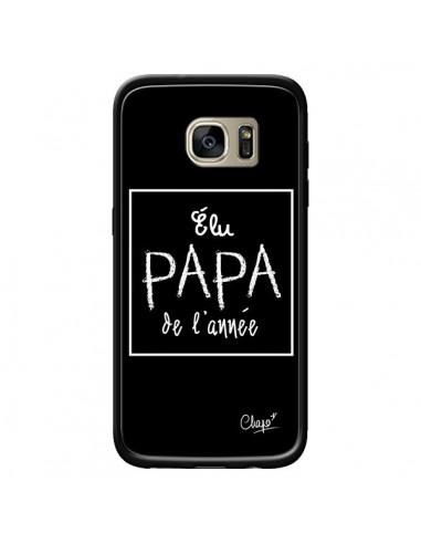 Coque Elu Papa de l'Année Noir pour Samsung Galaxy S7 Edge - Chapo