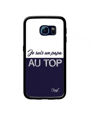 Coque Je suis un Papa au Top Bleu Marine pour Samsung Galaxy S6 Edge - Chapo