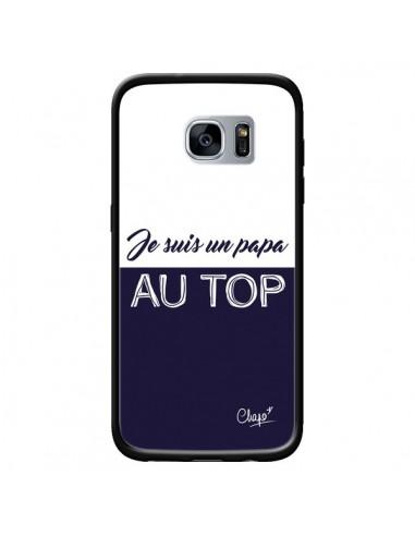 Coque Je suis un Papa au Top Bleu Marine pour Samsung Galaxy S7 - Chapo