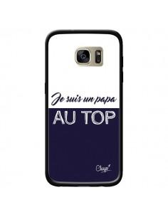 Coque Je suis un Papa au Top Bleu Marine pour Samsung Galaxy S7 Edge - Chapo