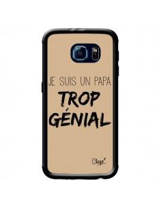 Coque Je suis un Papa trop Génial Beige pour Samsung Galaxy S6 - Chapo