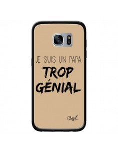 Coque Je suis un Papa trop Génial Beige pour Samsung Galaxy S7 - Chapo
