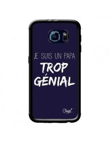 Coque Je suis un Papa trop Génial Bleu Marine pour Samsung Galaxy S6 - Chapo