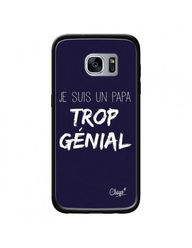 Coque Je suis un Papa trop Génial Bleu Marine pour Samsung Galaxy S7 - Chapo
