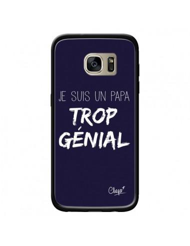 Coque Je suis un Papa trop Génial Bleu Marine pour Samsung Galaxy S7 Edge - Chapo