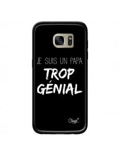 Coque Je suis un Papa trop Génial Noir pour Samsung Galaxy S7 Edge - Chapo