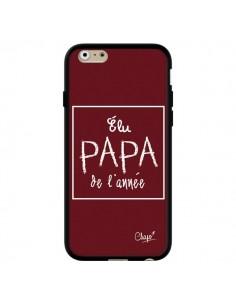 Coque iPhone 6 et 6S Elu Papa de l'Année Rouge Bordeaux - Chapo