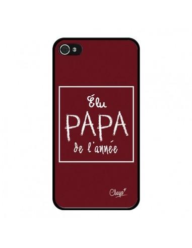 Coque iPhone 4 et 4S Elu Papa de l'Année Rouge Bordeaux - Chapo