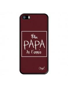 Coque Elu Papa de l'Année Rouge Bordeaux pour iPhone 5/5S et SE - Chapo