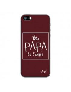 Coque iPhone 5/5S et SE Elu Papa de l'Année Rouge Bordeaux - Chapo