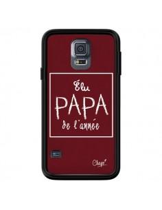 Coque Elu Papa de l'Année Rouge Bordeaux pour Samsung Galaxy S5 - Chapo