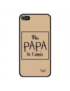 Coque iPhone 4 et 4S Elu Papa de l'Année Beige - Chapo
