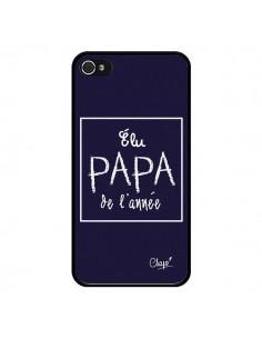 Coque Elu Papa de l'Année Bleu Marine pour iPhone 4 et 4S - Chapo