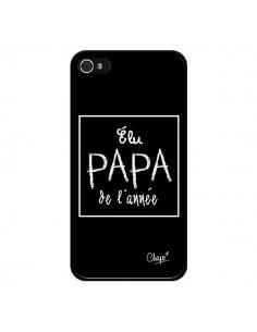 Coque Elu Papa de l'Année Noir pour iPhone 4 et 4S - Chapo