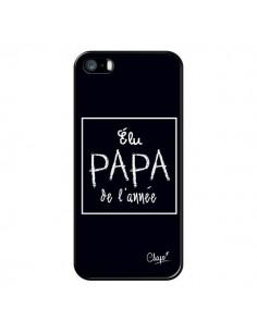 Coque iPhone 5/5S et SE Elu Papa de l'Année Noir - Chapo