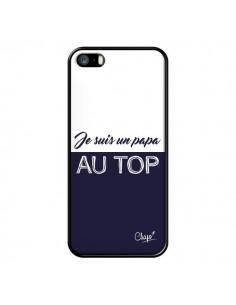 Coque iPhone 5/5S et SE Je suis un Papa au Top Bleu Marine - Chapo