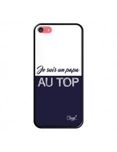 Coque iPhone 5C Je suis un Papa au Top Bleu Marine - Chapo