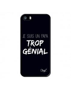 Coque iPhone 5/5S et SE Je suis un Papa trop Génial Noir - Chapo