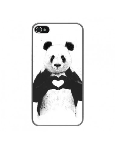 Coque iPhone 4 et 4S Panda Amour All you need is love - Balazs Solti