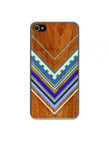 Coque Azteque Arbutus Blue Bois Aztec Tribal pour iPhone 4 et 4S - Jenny Mhairi