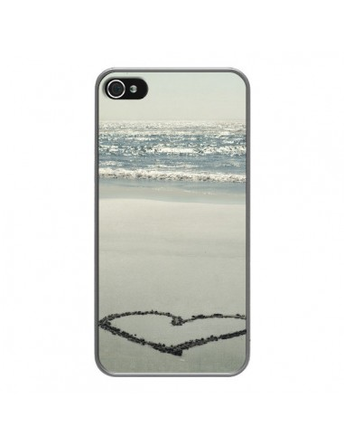 Coque iPhone 4 et 4S C?oeur Plage Beach Mer Sea Love Sable Sand - R Delean