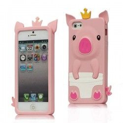 Coque Cochon Pig couronné en Silicone pour iPhone 5