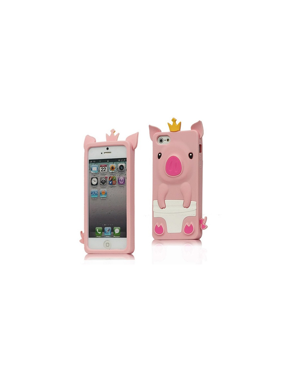 coque cochon pig couronn en silicone pour iphone 5. Black Bedroom Furniture Sets. Home Design Ideas