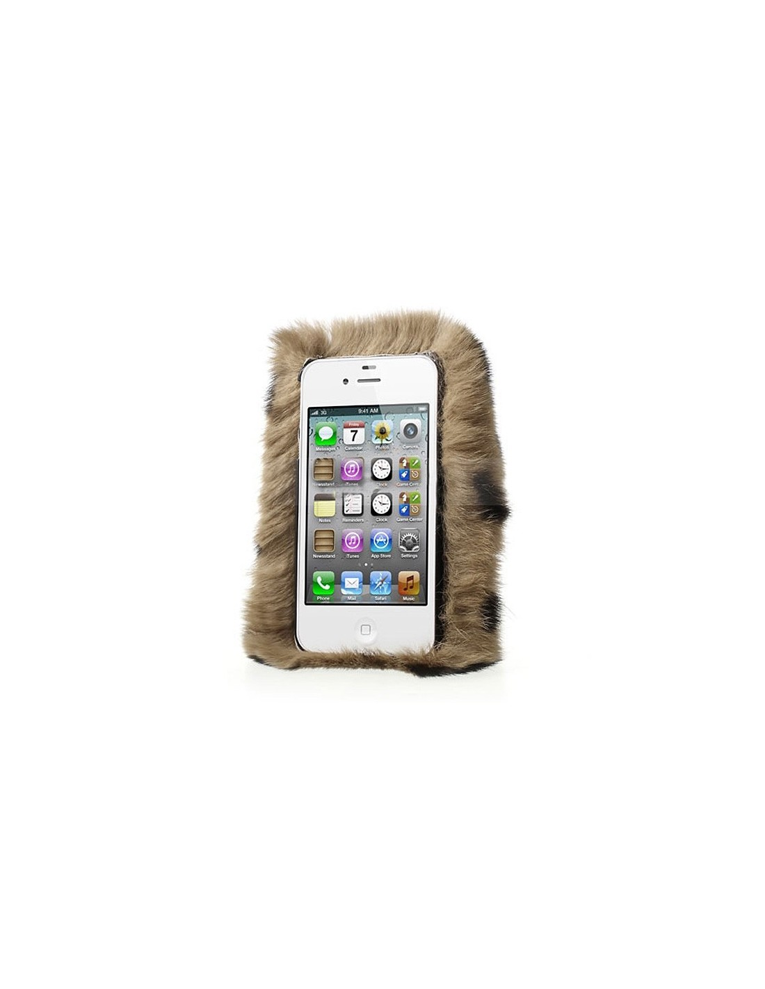coque en fourrure leopard ultra douce pour iphone 4 4s. Black Bedroom Furniture Sets. Home Design Ideas