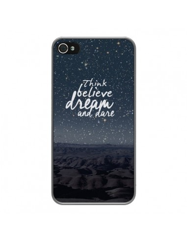 Coque iPhone 4 et 4S Think believe dream and dare Pensée Rêves - Eleaxart