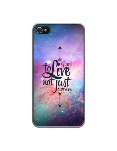 Coque iPhone 4 et 4S I want to live Je veux vivre - Eleaxart