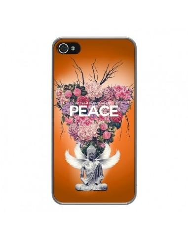 Coque iPhone 4 et 4S Peace Fleurs Buddha - Eleaxart