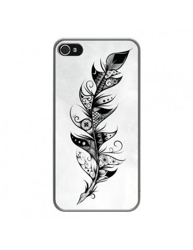 Coque iPhone 4 et 4S Feather Plume Noir et Blanc - LouJah