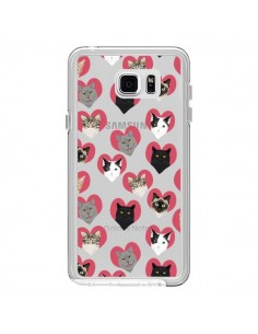 Coque Chats Coeurs Transparente pour Samsung Galaxy Note 5 - Pet Friendly