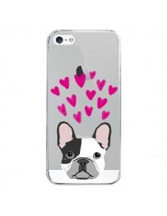 Coque iPhone 5/5S et SE Bulldog Français Coeurs Chien Transparente - Pet Friendly