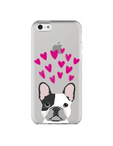 Coque iPhone 5C Bulldog Français Coeurs Chien Transparente - Pet Friendly