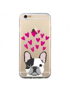 Coque Bulldog Français Coeurs Chien Transparente pour iPhone 6 et 6S - Pet Friendly