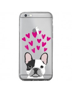 Coque iPhone 6 Plus et 6S Plus Bulldog Français Coeurs Chien Transparente - Pet Friendly