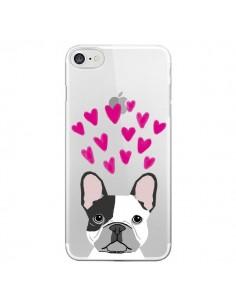 Coque iPhone 7 et 8 Bulldog Français Coeurs Chien Transparente - Pet Friendly