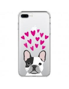 Coque iPhone 7 Plus et 8 Plus Bulldog Français Coeurs Chien Transparente - Pet Friendly