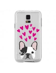 Coque Bulldog Français Coeurs Chien Transparente pour Samsung Galaxy S5 - Pet Friendly