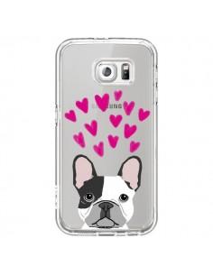 Coque Bulldog Français Coeurs Chien Transparente pour Samsung Galaxy S6 - Pet Friendly