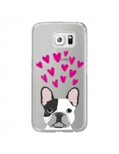 Coque Bulldog Français Coeurs Chien Transparente pour Samsung Galaxy S6 Edge - Pet Friendly