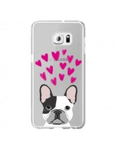 Coque Bulldog Français Coeurs Chien Transparente pour Samsung Galaxy S6 Edge Plus - Pet Friendly