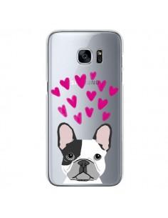 Coque Bulldog Français Coeurs Chien Transparente pour Samsung Galaxy S7 - Pet Friendly