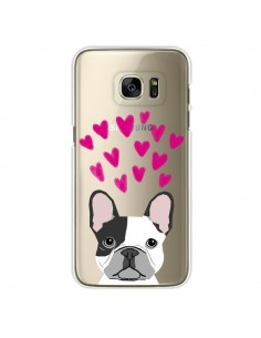 Coque Bulldog Français Coeurs Chien Transparente pour Samsung Galaxy S7 Edge - Pet Friendly