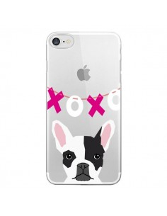 Coque iPhone 7 et 8 Bulldog Français XoXo Chien Transparente - Pet Friendly